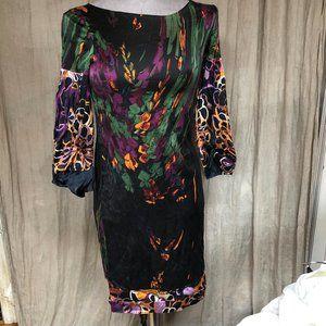 Elie Tahari black watercolor SILK shift dress XS